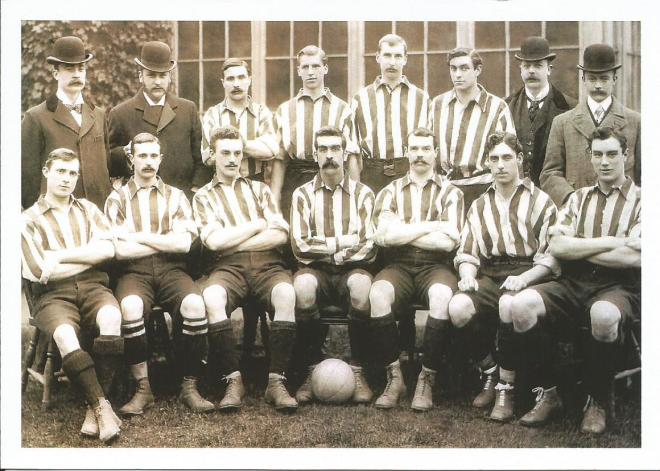 Clapton FC Team Photo 1896. Stanley Briggs, seated front row, far right